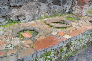 """These once held """"crock pots"""" in a food stall at Pompeii"""